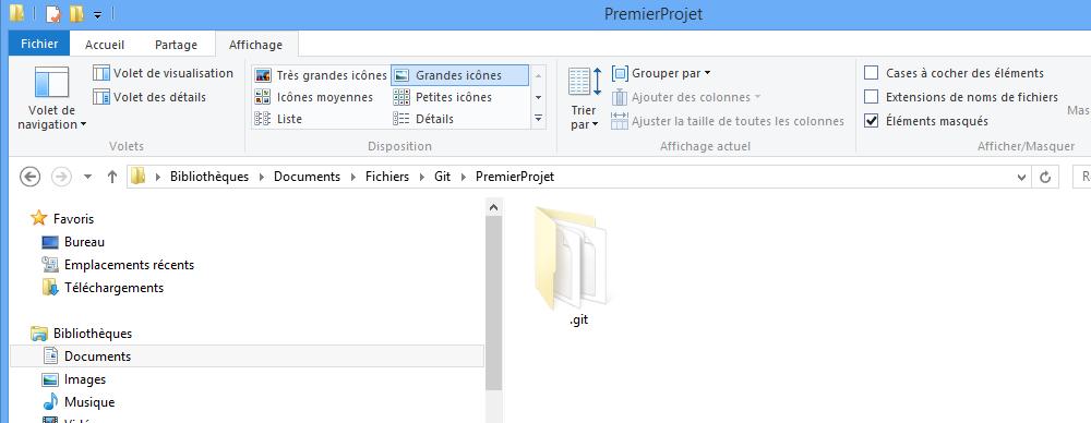Affichez le dossier Git caché