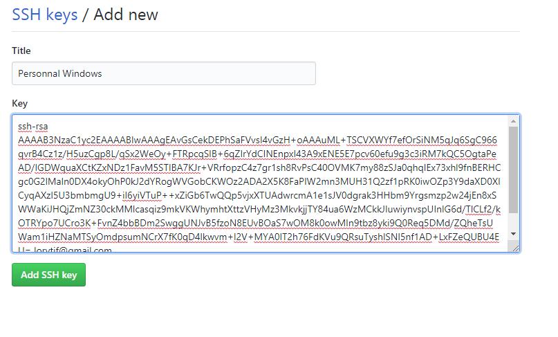Ajoutez une clé SSH