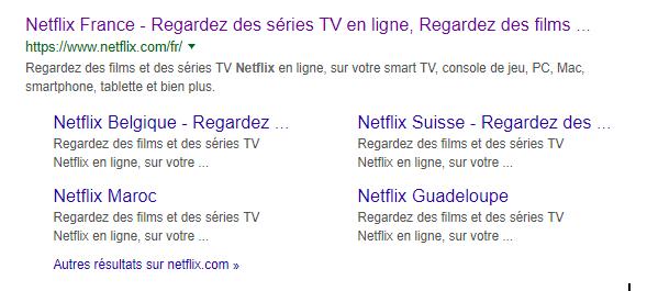 Sitelinks du site de Netflix
