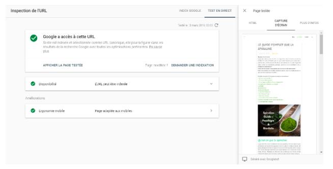 Google Search Console - Résultat de l'outil d'inspection d'URL