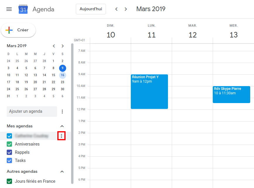 L'interface de Google Agenda - Capture d'écran