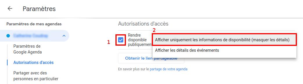 Afficher les informations de disponibilité sous Google Agenda - Capture d'écran