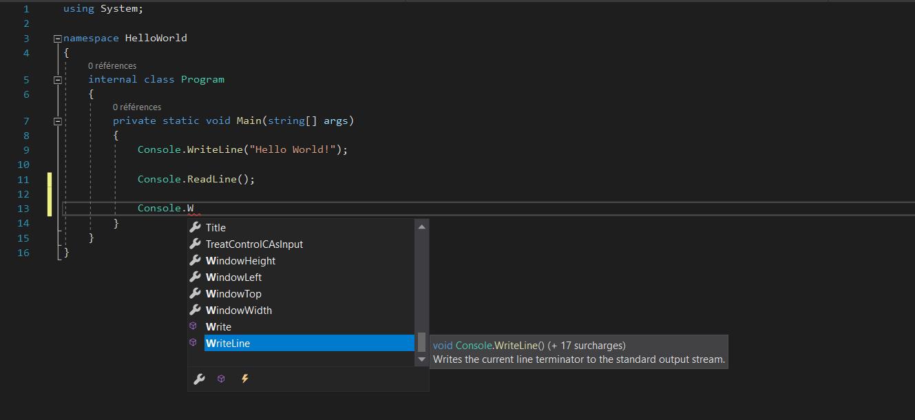 Intellisense fournissant des suggestions de code