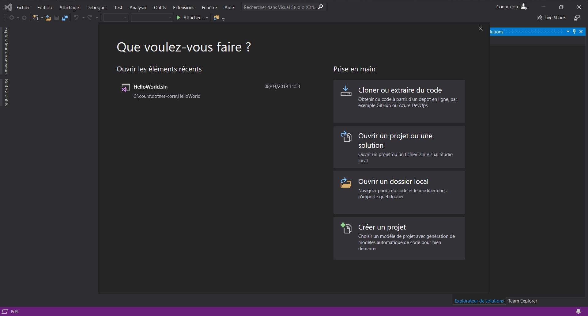La page de démarrage de Visual Studio
