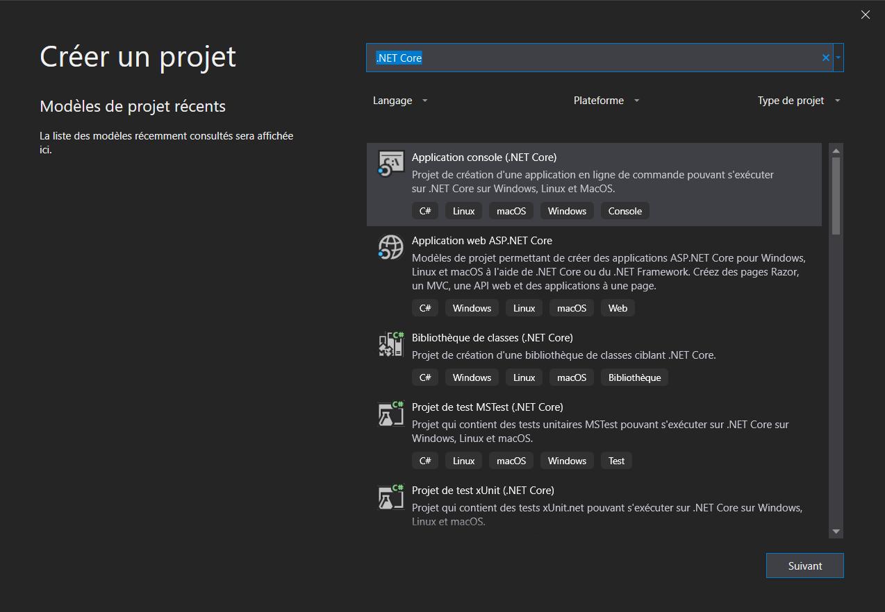 La fenêtre Créer un projet affiche les templates de projet de Visual Studio