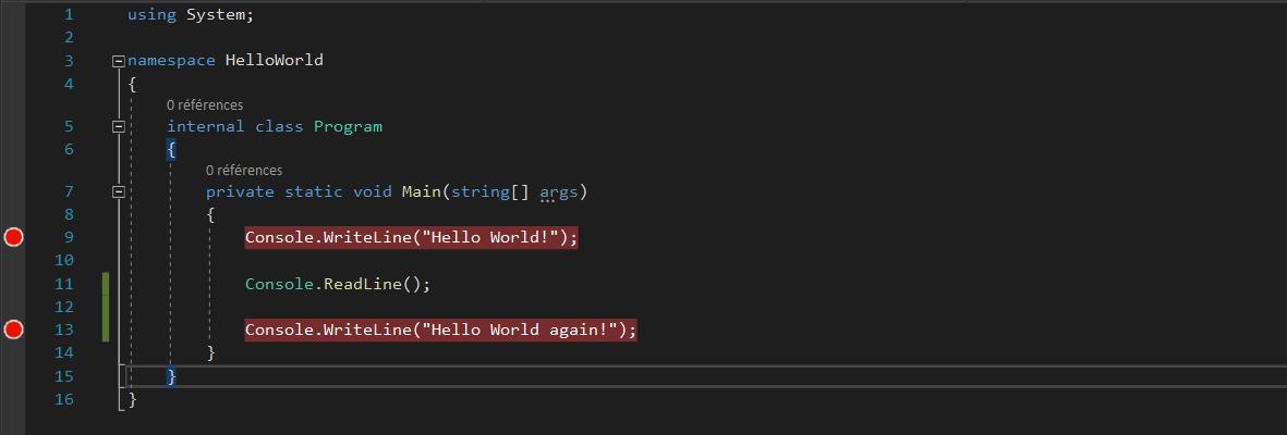 Les points d'arrêt dans Visual Studio