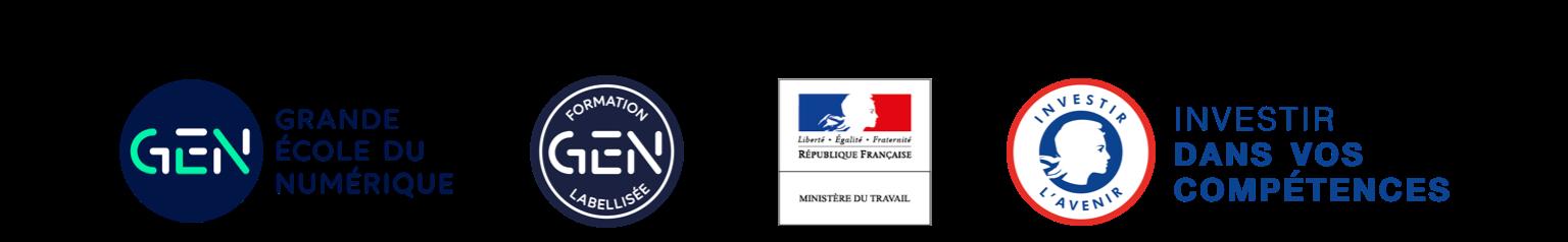 Les logos des partenaires Grande Ecole du Numerique, leur label.