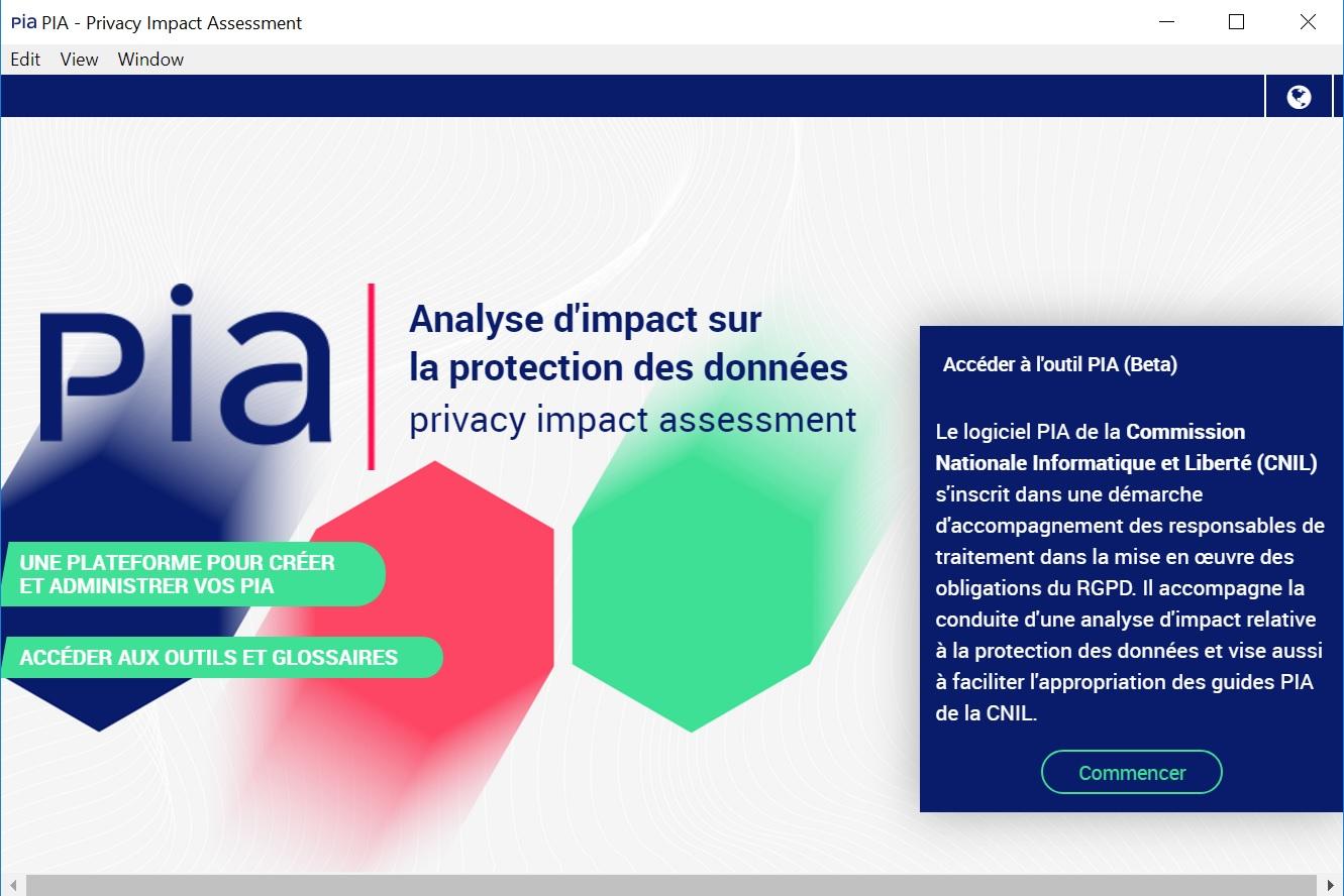 Page de présentation du logiciel PIA