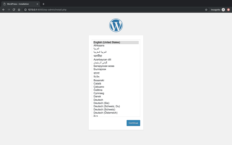 Page d'accueil de configuration d'un site Wordpress