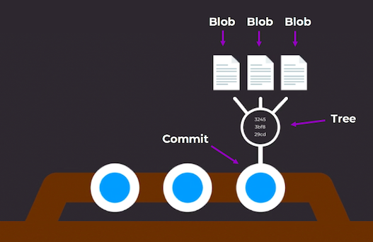 Git tree: Three types of objects in a commit