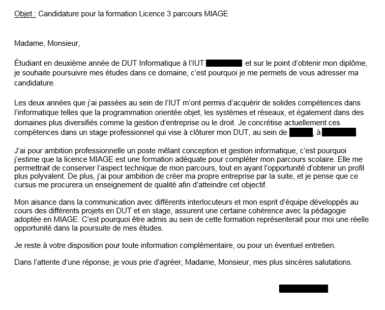 Lettre De Motivation L3 Miage Par Krelaw Openclassrooms