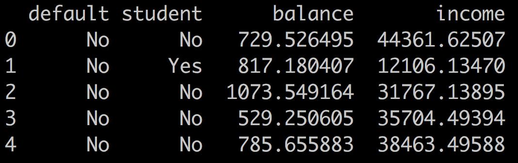 Head of credit default dataset