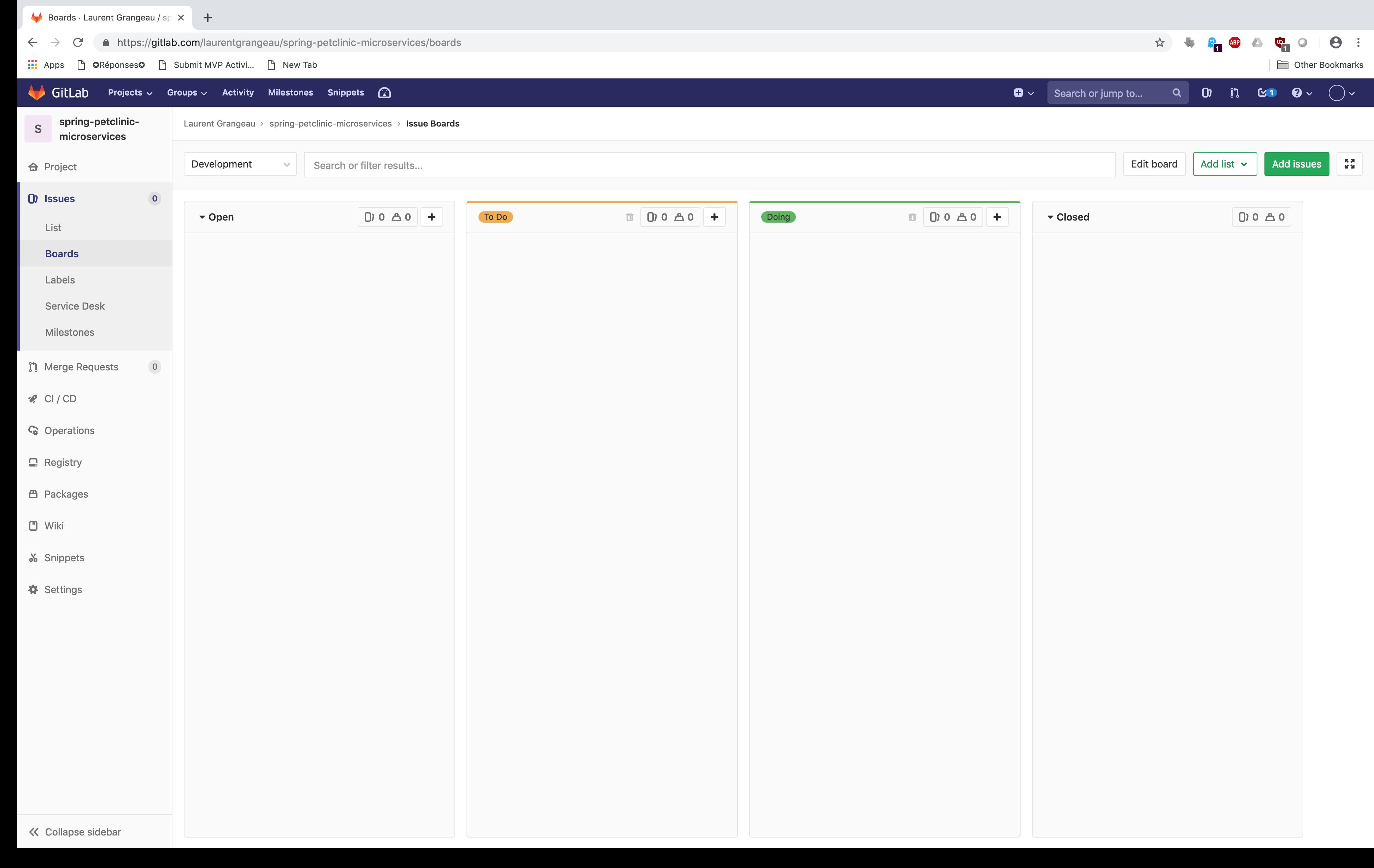 Votre Board sur Gitlab
