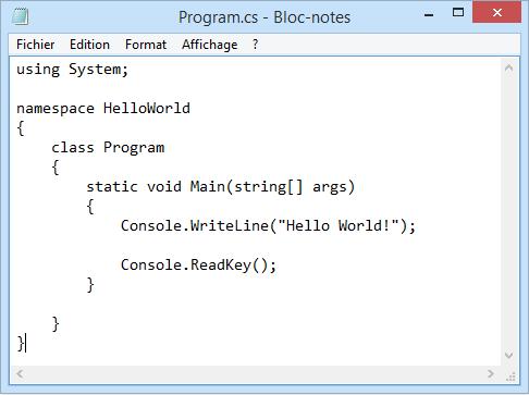 Program.cs ouvert avec le bloc notes