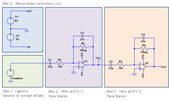 Figure 3 : Schéma électronique du détecteur de mouvement alimenté en tension symétrique.