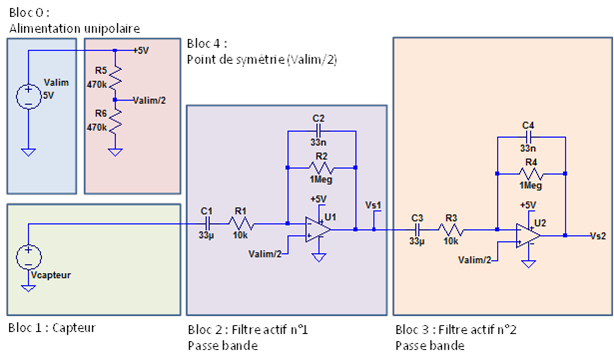Schéma électronique du détecteur de mouvement alimenté en tension unipolaire