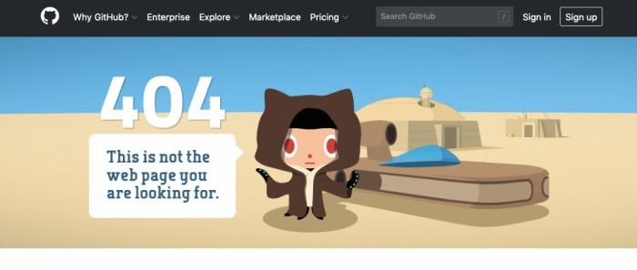 GitHub 404 Response Page