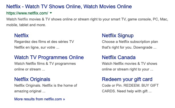 Example of sitelinks for Netflix