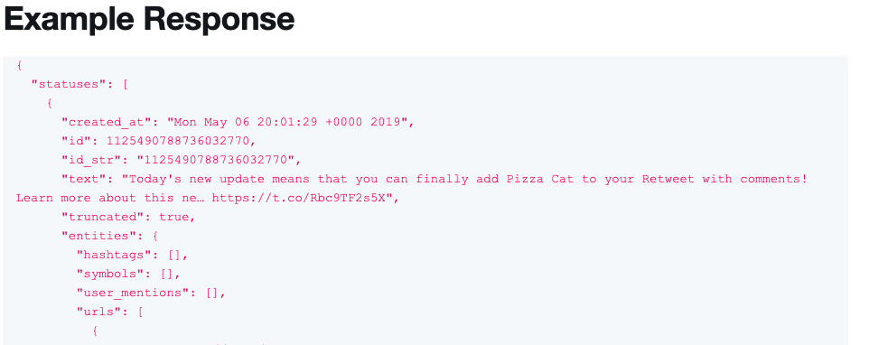An example response in Twitter docs