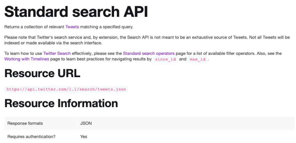 Resource Information in Twitter Documentation