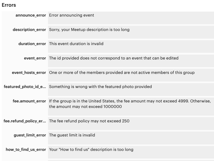 All the possible errors from the Meetup API
