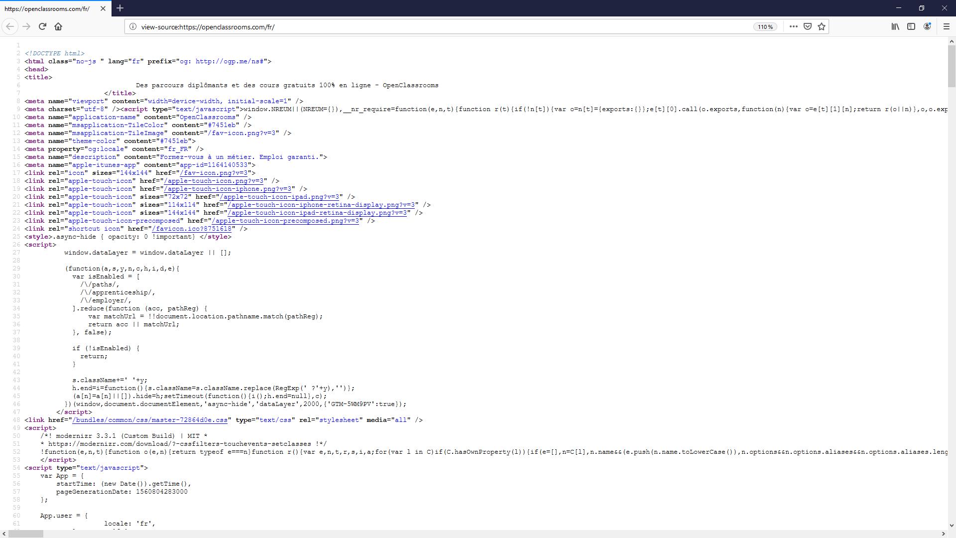 Il est possible d'accéder au code source d'une page web facilement sur chaque navigateur web. Très souvent, cette option est disponible au clic droit.
