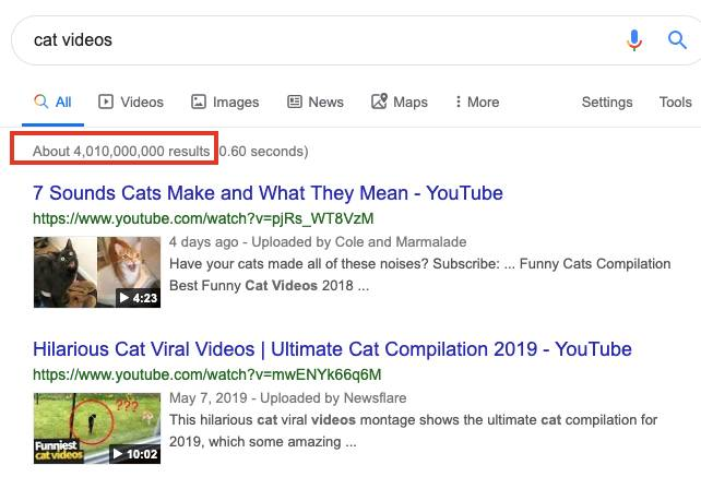 Search Cat Videos on Google for 4 billion results!