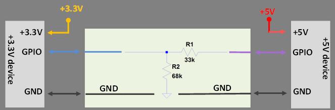 Translateur de niveau bidirectionnel à pont diviseur de tension.