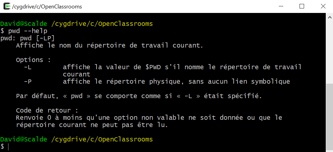 Terminal avec l'instruction pwd --help