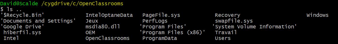 Le résultat de la commande ls.. sur mon terminal
