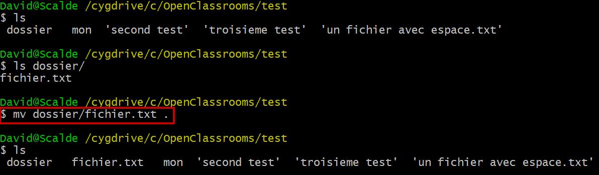 Le résultat de la commande mv dossier/fichier.txt . sur mon terminal