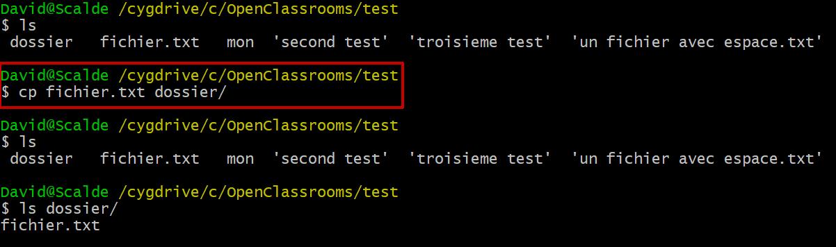 Le résultat de la commande cp fichier.txt dossier/ sur mon terminal