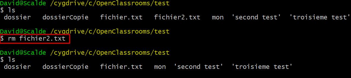 Le résultat de la commande rm fichier2.txt sur mon terminal