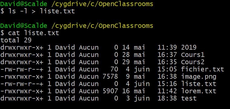 Le résultat de la commande ls -l > liste.txt sur mon terminal