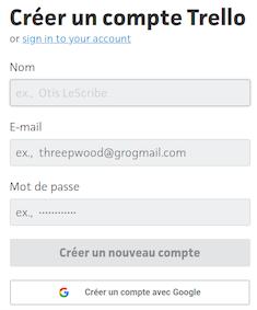 La création d'un compte Trello, en direct ou avec votre compte Google - capture d'écran