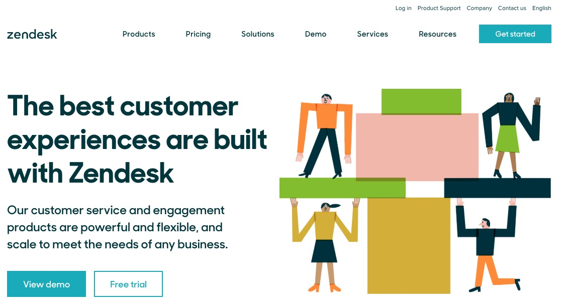 Let us consider the Zendesk customer support software website
