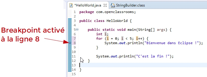 Breakpoint à côté du numéro de ligne dans l'éditeur de code