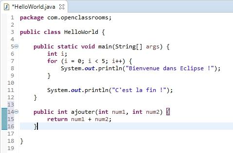 HelloWorld avec une simple méthode ajouter