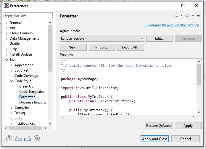Personnalisation du formatage du code