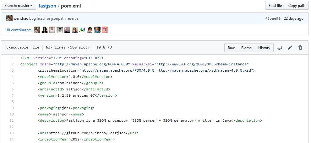 Informations Github sur le fichier pom.xml