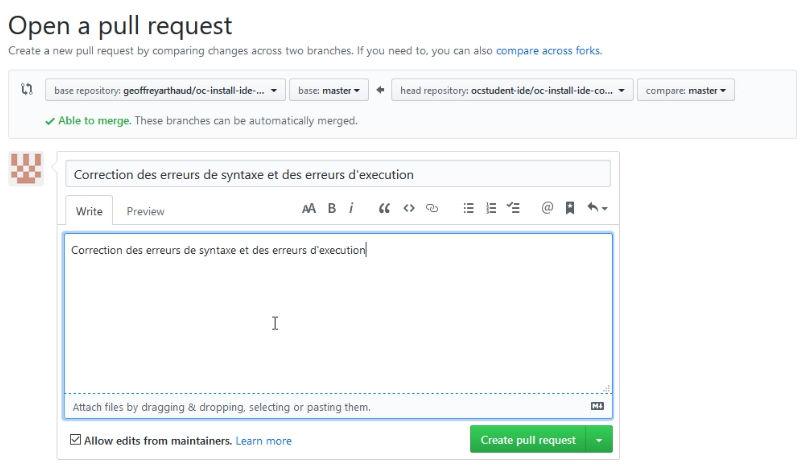 Création et envoi d'une pull request avec description des corrections