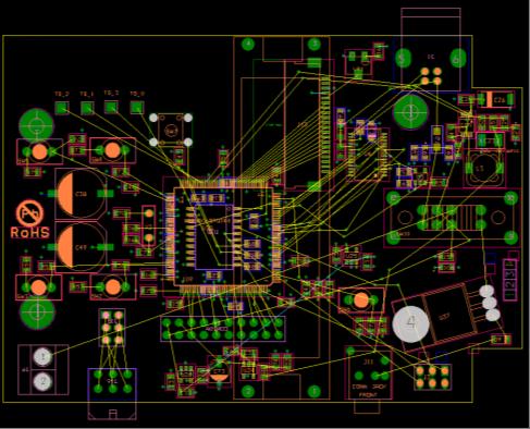 Représentation des interconnexions vectorielles entre les composants (chevelu).