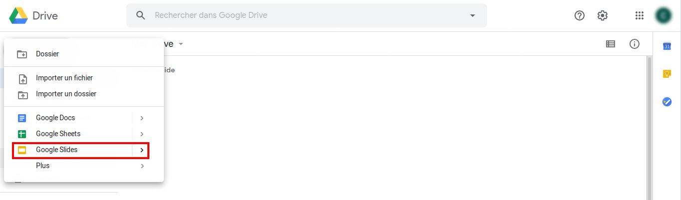 Ouverture d'un nouveau document Google Slides dans Google Drive