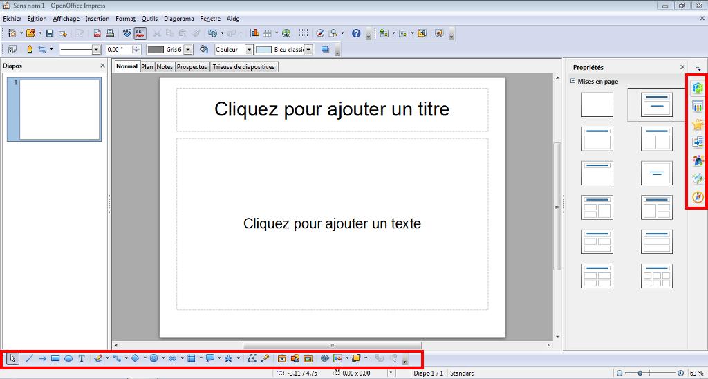 L'interface d'OpenOffice Impress