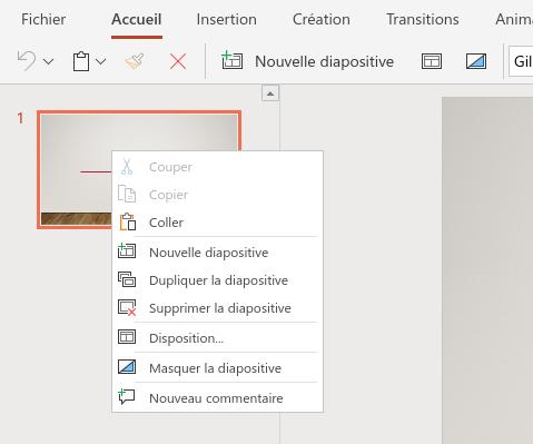 Clic droit sur une diapositive dans la zone de présentation de l'ensemble des diapos sous PowerPoint Online