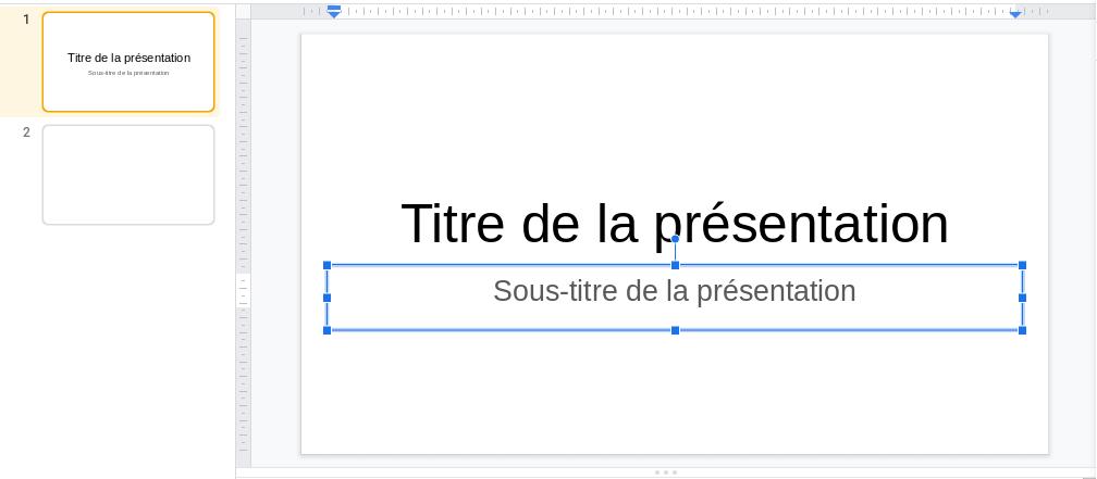 Saisie du texte dans le sous titre de la diapositive