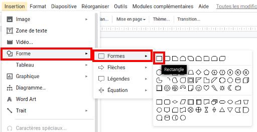 Capture d'écran des items à sélectionner