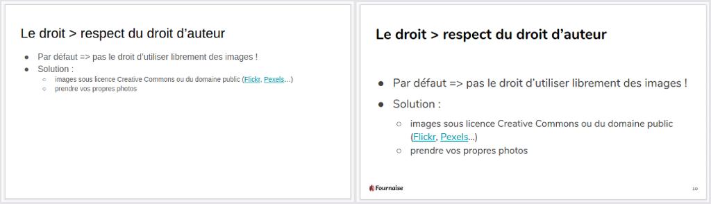 Capture d'écran d'une diapo titre + liste avant/après