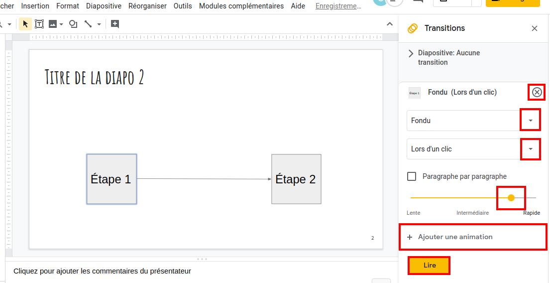 Capture d'écran des opérations à effectuer pour  modifier les paramètres de l'animation, la supprimer ou en rajouter une