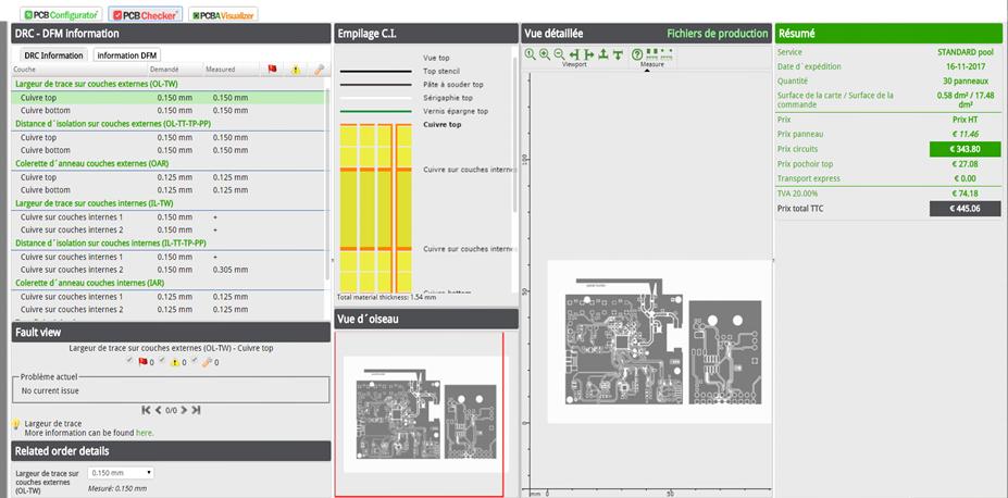 Interface pour configurer la technologie de votre PCB, visualiser et analyser le contenu des fichiers Gerber.